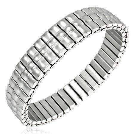Feshionn IOBI bracelets Stainless Steel Thin Triple Line Domed Bar Link Stainless Steel Stretch Bracelet