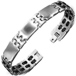 Feshionn IOBI bracelets Stainless Steel Triple Panel Stainless Steel Men's Bracelet With Black Rubber Links