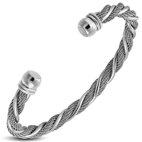 Feshionn IOBI bracelets Stainless Steel Twisted Ropes Stainless Steel Cuff Bracelet