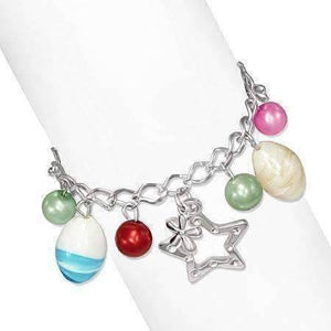 Feshionn IOBI bracelets Star Studded Glass Bead Silver Charm Bracelet ~ Four Fun Colors to Choose!