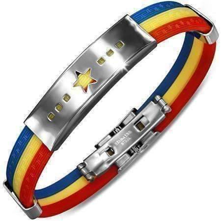 Feshionn IOBI bracelets Star Tri-Color Triple Band Silicone Bracelet with Stainless Steel Cut Out Designs ~ Choose Your Design