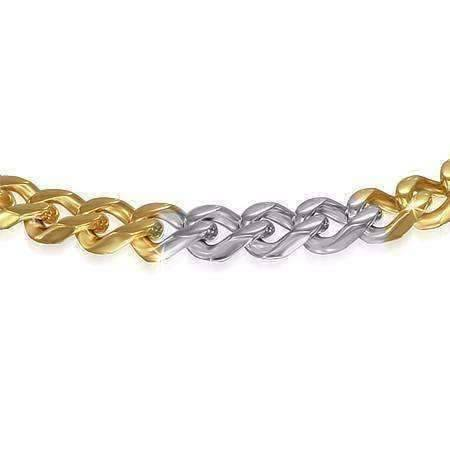 ce77b51b544fc ON SALE - Thin Cuban Link Two Tone Stainless Steel Men's Bracelet - Three  Sizes Available