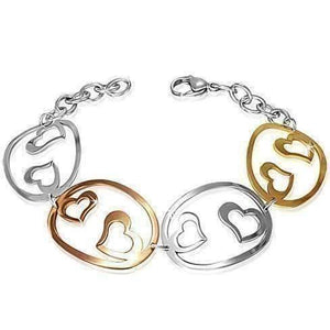 Feshionn IOBI bracelets Tri-Color Tri-Color Hearts Cut Out Medallion Bracelet in Stainless Steel, 18k Yellow and Rose Gold Plating