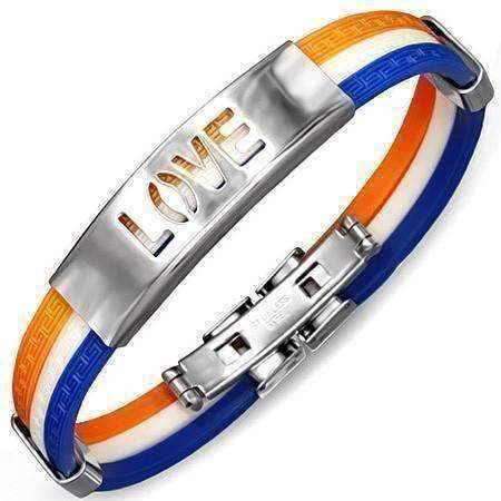 Feshionn IOBI bracelets Tri-Color Triple Band Silicone Bracelet with Stainless Steel Cut Out Designs ~ Choose Your Design