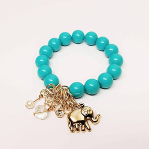 Feshionn IOBI bracelets Turquoise Green Lucky Elephant Charm Bead Bracelet - Choose Your Color