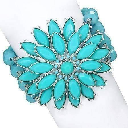 "Feshionn IOBI bracelets Turquoise ON SALE - ""Summer Breeze"" Turquoise Flower Medallion Beaded Stretchy Bracelet"