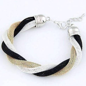 Feshionn IOBI bracelets Twisted Metallic Mesh Bracelet- Black Gold & Silver