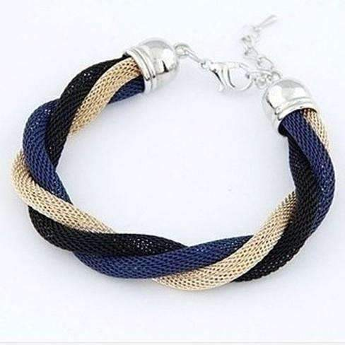 Feshionn IOBI bracelets Twisted Metallic Mesh Bracelet - Blue Black & Gold