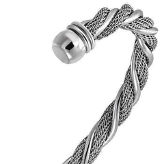 Twisted Ropes Stainless Steel Cuff Bracelet