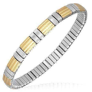 Feshionn IOBI bracelets Two Tone Cadence Thin Two Tone 18K Gold Plated Stainless Steel Stretch Link Bracelet