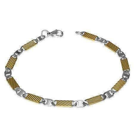 Feshionn IOBI bracelets Two Tone Fine Etched Bar Link Two Tone Stainless Steel Men's Bracelet