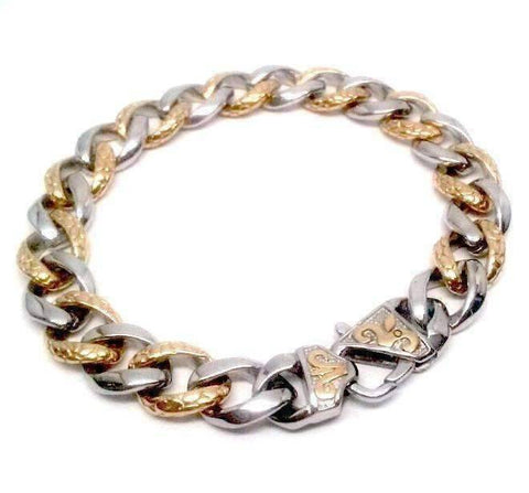 Feshionn IOBI bracelets Two Tone Fleur De Lis Cuban Curb Link 18k Gold Plated Stainless Steel Men's Bracelet