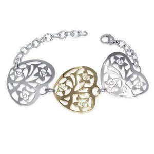 Feshionn IOBI bracelets Two Tone Gold Floral Hearts Two Tone Filigree Medallion Bracelet in 18k