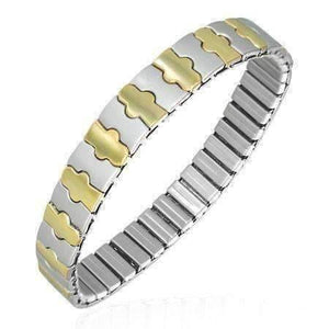 Feshionn IOBI bracelets Two Tone Harmony Thin Two Tone 18K Gold Plated Stainless Steel Stretch Link Bracelet