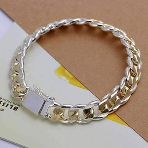 Feshionn IOBI bracelets Two-Tone Open Curb Link Sterling Silver Bracelet For Men Or Women