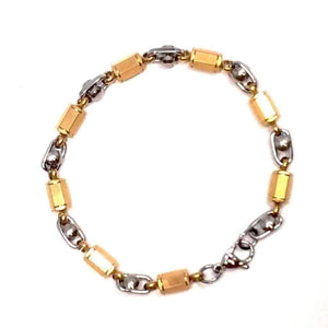 Feshionn IOBI bracelets Two Tone Spike Shifting Coil Link Two Tone Stainless Steel Bracelet
