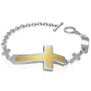 Feshionn IOBI bracelets Two Tone Star Cross Chain Two-Tone Stainless Steel Bracelet