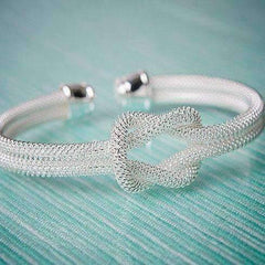 CLEARANCE - Meshy Love Knot Cuff Bracelet in Silver or Gold