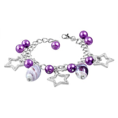 Feshionn IOBI bracelets Violet Star Studded Glass Bead Silver Charm Bracelet ~ Four Fun Colors to Choose!