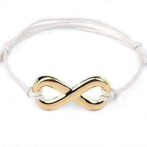 Feshionn IOBI bracelets White and Gold Tone Infinity Friendship Bracelet