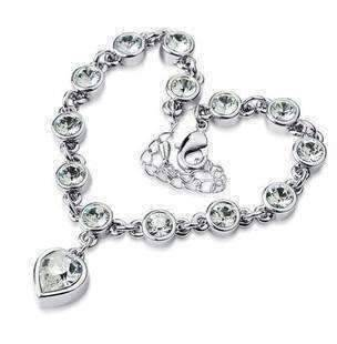 Feshionn IOBI bracelets White Gold Linked Forever Crystal Heart Charm Bracelet - Choose Your Color