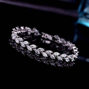 Feshionn IOBI bracelets White Gold Marquise Leaf Swiss CZ Diamonds Tennis Bracelet