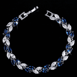 Feshionn IOBI bracelets White Gold Sapphire Marquise Leaf Swiss CZ Diamonds Tennis Bracelet