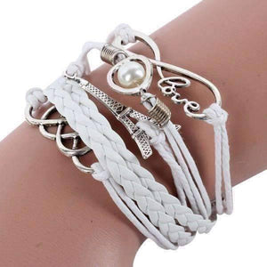 Feshionn IOBI bracelets White I Love Paris Handmade Leather Friendship Bracelet