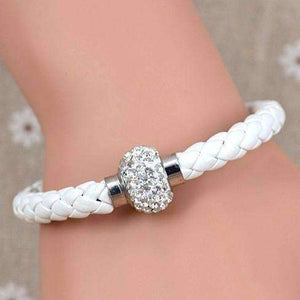 Feshionn IOBI bracelets White ON SALE - French Braid Shamballa Magnetic Bangle Bracelet