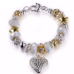 ON SALE - Pearl White Glass Beads With Heart Charm Bracelet