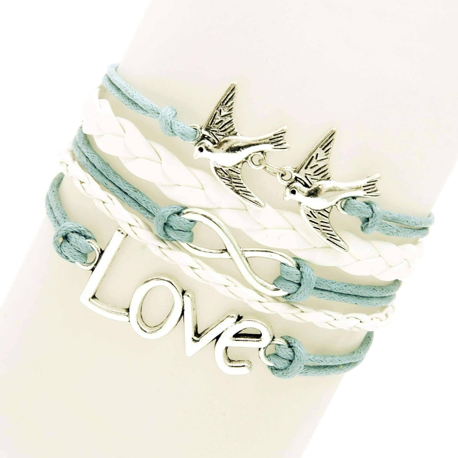 Feshionn IOBI bracelets Wings of Love Handmade Leather Friendship Bracelet
