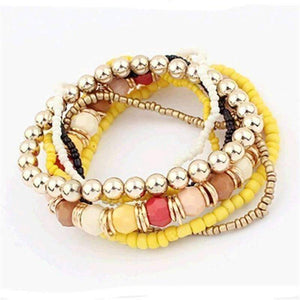 Feshionn IOBI bracelets Yellow Bohemian Beads Multi Layered Bracelet