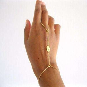 Feshionn IOBI bracelets Yellow Gold Delicate Hand of Fatima Hamsa Body Jewelry Bracelet