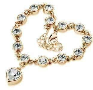 Feshionn IOBI bracelets Yellow Gold Linked Forever Crystal Heart Charm Bracelet - Choose Your Color