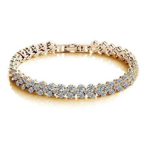 Feshionn IOBI bracelets Yellow Gold Mosaic 90 Swiss CZ Diamonds Tennis Bracelet In Three Colors