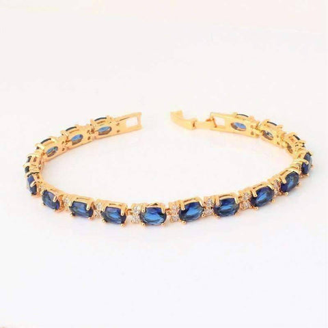 Feshionn IOBI bracelets Yellow Gold Sapphire Blue Oval Austrian Crystal Tennis Bracelet with Extender in Yellow Gold