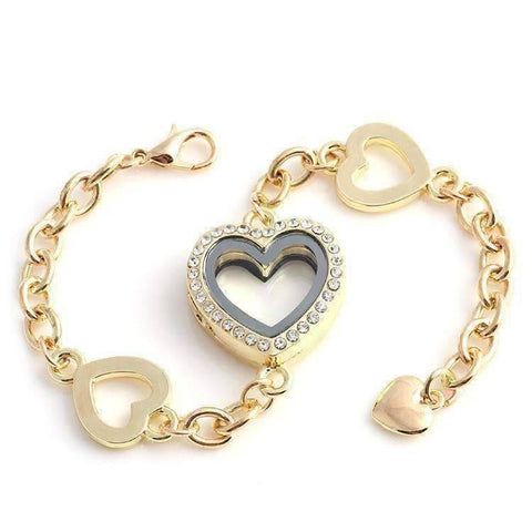 Feshionn IOBI bracelets Yellow Gold Story of My Life Heart Shaped Charm Locket Bracelet - Four Colors to Choose!