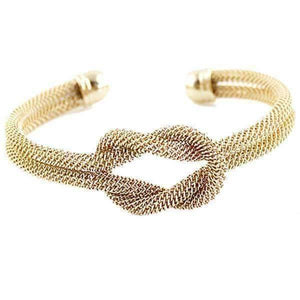 Feshionn IOBI bracelets Yellow Gold UNDER 10 - Meshy Love Knot Cuff Bracelet in Silver or Gold