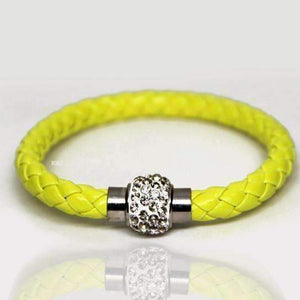 Feshionn IOBI bracelets Yellow Highlighter ON SALE - French Braid Shamballa Magnetic Bangle Bracelet