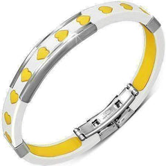 Feshionn IOBI bracelets Yellow Yellow Hearts White Silicone Bracelet With Stainless Steel