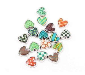 Feshionn IOBI Charms Argyle Pop Art Heart Charm for Charm Locket Necklaces ~ Your Choice