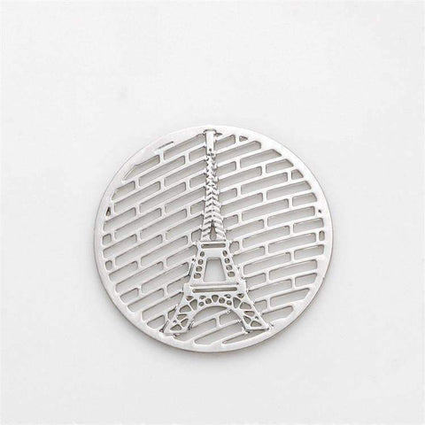 Feshionn IOBI Charms Eiffel Tower Round Cut Out Plate for Round Charm Locket Necklaces ~Choose Your Theme!