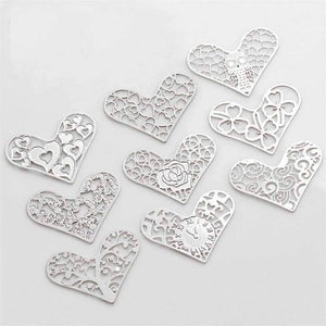 Feshionn IOBI Charms Family Tree Hearts Cut Out Plate for Heart Charm Locket Necklaces ~ Choose Your Theme!