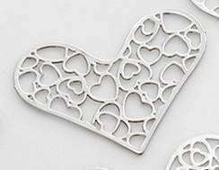Feshionn IOBI Charms Filigree Hearts Cut Out Plate for Heart Charm Locket Necklaces ~ Choose Your Theme!