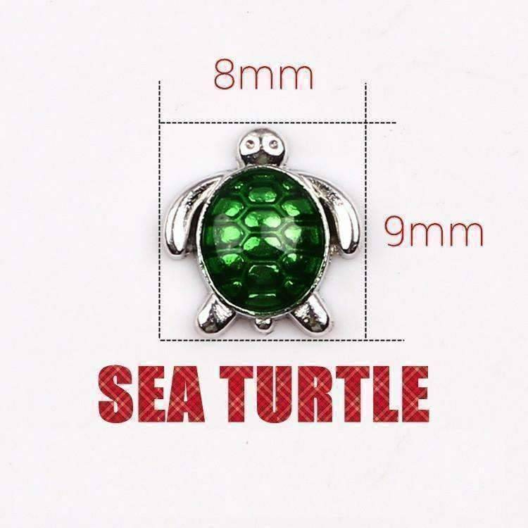 Feshionn IOBI Charms Green Green Enamel Turtle Free Floating Charm for Charm Locket Necklaces