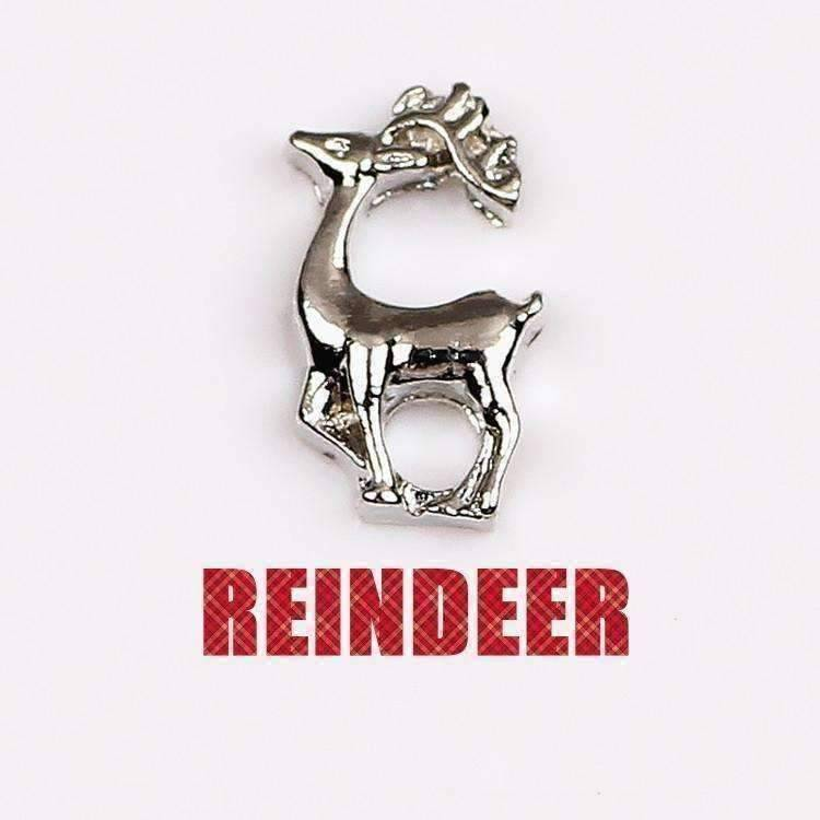 Feshionn IOBI Charms Silver Reindeer Holiday Collection Free Floating Charms for Charm Locket Necklaces