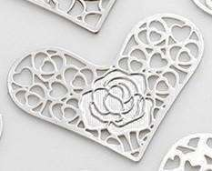 Feshionn IOBI Charms Rose Hearts Cut Out Plate for Heart Charm Locket Necklaces ~ Choose Your Theme!