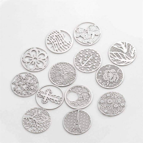 Feshionn IOBI Charms Round Cut Out Plate for Round Charm Locket Necklaces ~Choose Your Theme!