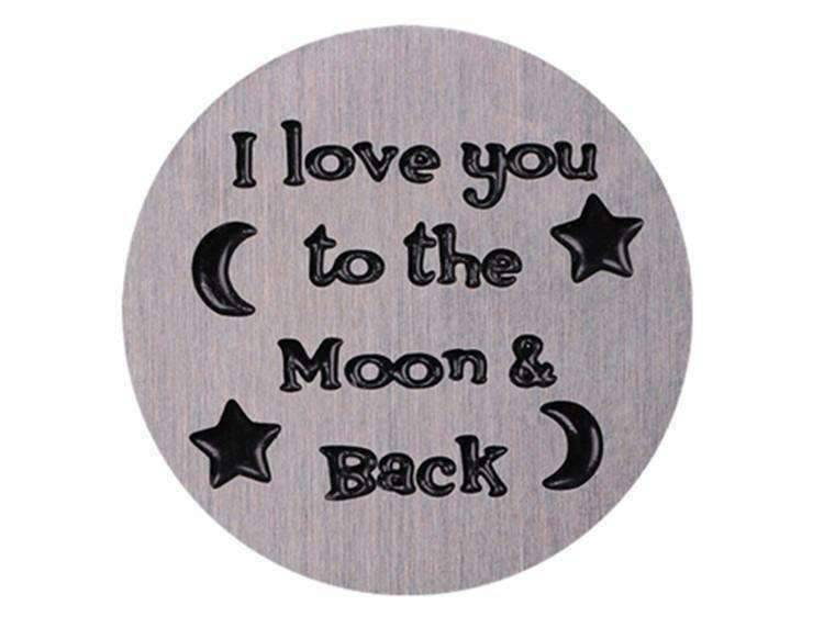 Feshionn IOBI Charms Moon & Back Round Stamped Plate for Round Charm Locket Necklaces ~ Choose Your Theme!