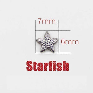 Feshionn IOBI Charms Silver Tiny Silver Starfish Free Floating Charm for Charm Locket Necklaces